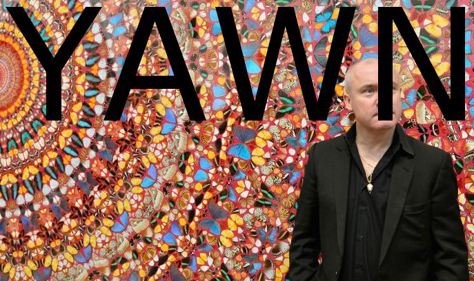 "British artist Damien Hirst poses next to his painting ""I Am Become Death, Shatterer of Worlds (2006)"", at the Tate Modern gallery in London April 2, 2012. Hirst's retrospective show runs from April 4 to September 9.   REUTERS/Toby Melville (BRITAIN - Tags: ENTERTAINMENT SOCIETY) - RTR308OQ"